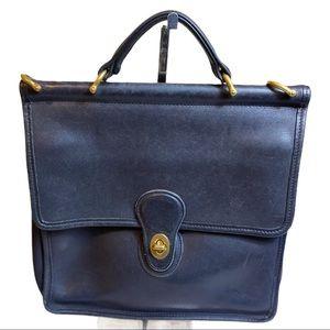 Vintage Coach Navy Leather Willis Bag